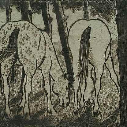 Two Horses Grazing under the Trees - Félix Pissarro (1874 - 1897)