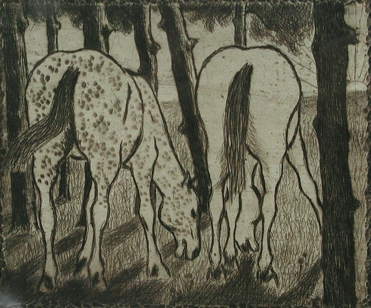 Two Horses Grazing under the Trees - Félix Pissarro (1874 - 1897)