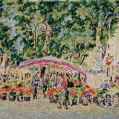 Series - Market in Provence<br /> - Lélia Pissarro, Early Figurative (b. 1963)
