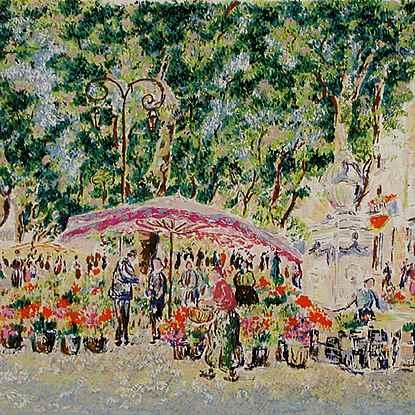 Series - Market in Provence<br /> - Lélia Pissarro, Early Figurative (b. 1963)