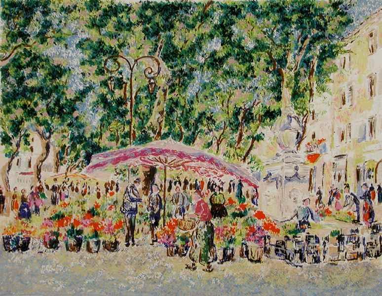 Series - Market in Provence - Lélia Pissarro, Early Figurative (b. 1963)