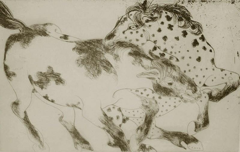 Lutte d'Étalons - Orovida Pissarro (1893 - 1968)