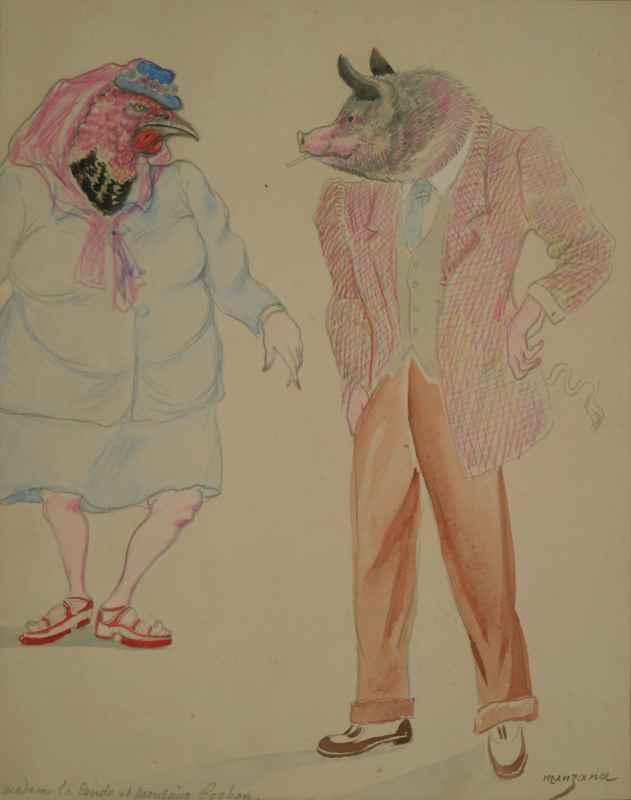 Madame la Dinde et Monsieur Cochon - Georges Manzana Pissarro (1871 - 1961)
