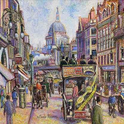 Fleet Street - H. Claude Pissarro (b. 1935 - )
