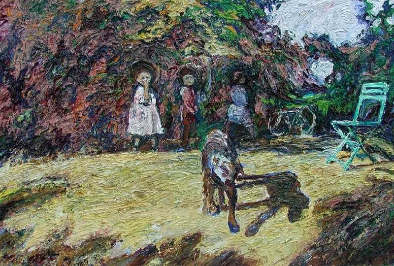 Un Chien une Chaise et les Gamins-Terrasse - Hugues  Pissarro dit Pomié (b. 1935 - )