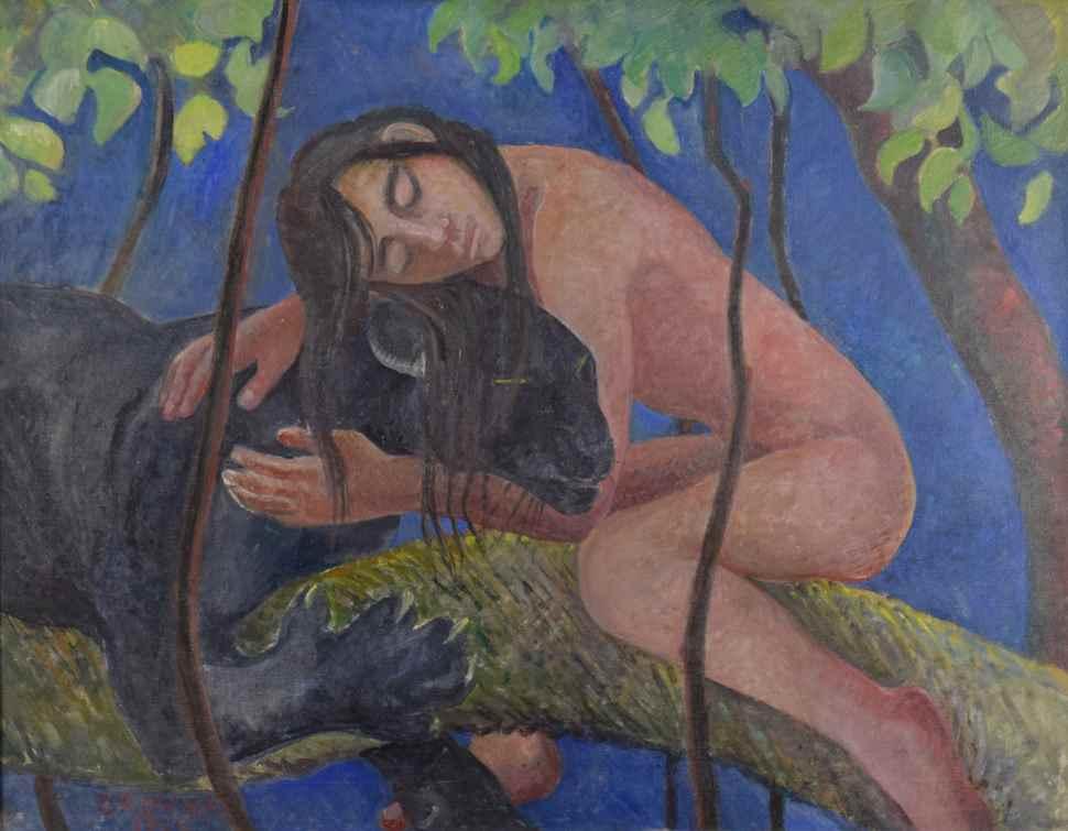 Mowgli and Bagheera - Orovida Pissarro (1893 - 1968)
