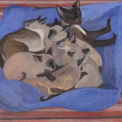 Siamese Cat with Kittens  - Orovida Pissarro (1893 - 1968)