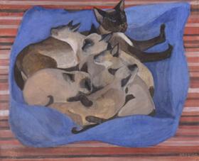 Orovida Pissarro - Siamese Cat with Kittens