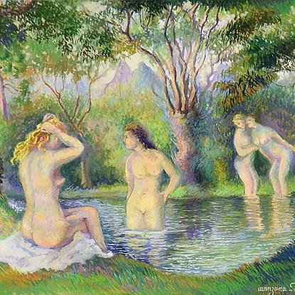 Baigneurs sur la riviere - Georges Manzana Pissarro (1871 - 1961)