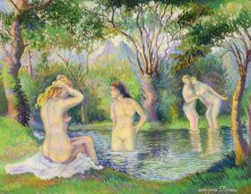 Georges Manzana Pissarro - Baigneurs sur la riviere