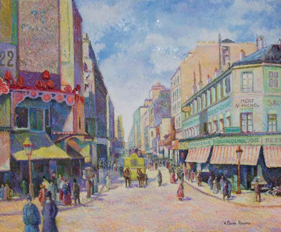 Le Restaurant du Mont Saint-Michel (Paris - Rue Clignancourt) - H. Claude Pissarro (b. 1935 - )