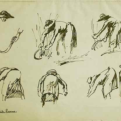Etude d'une Maraîchère coupant l'herbe - Paulémile Pissarro (1884 - 1972)