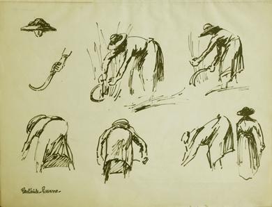 Paulémile Pissarro - Etude d'une Maraîchère coupant l'herbe