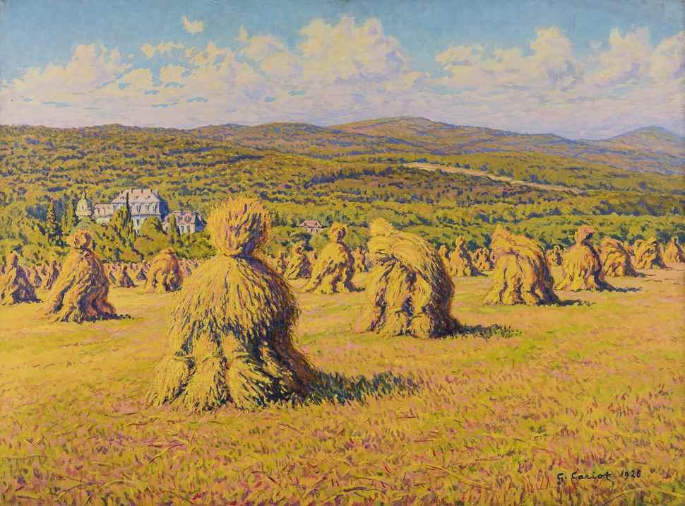 Paysage aux Bottes de Blé devant le Château de Georgenborn - Gustave Cariot (1872 - 1950)