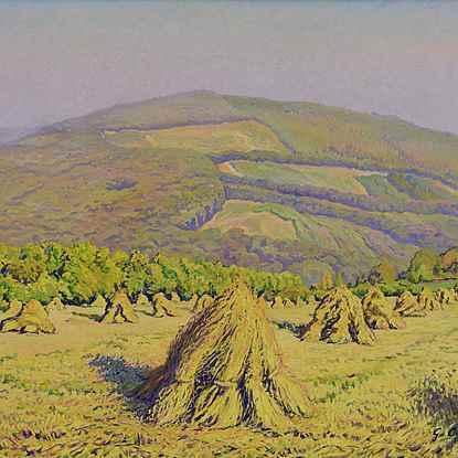 Paysage aux Bottes de Blé Devant la Montagne - Gustave Cariot (1872 - 1950)