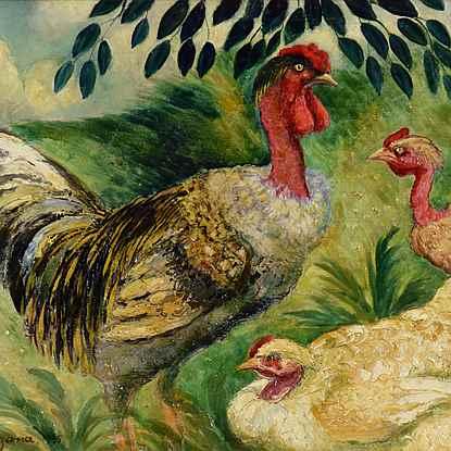 Cou Cou nu et ses poules - Georges Manzana Pissarro (1871 - 1961)