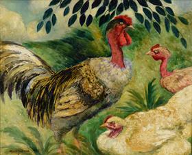Georges Manzana Pissarro - Cou Cou nu et ses poules
