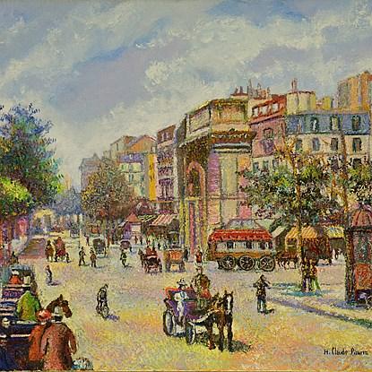 Les Fiacres, Boulevard Saint-Denis (Paris) - H. Claude Pissarro (b. 1935 - )