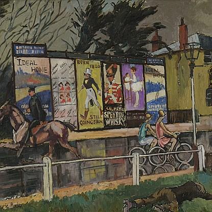 Posters on Sheen Road, London - Ludovic-Rodo Pissarro (1878 - 1952)