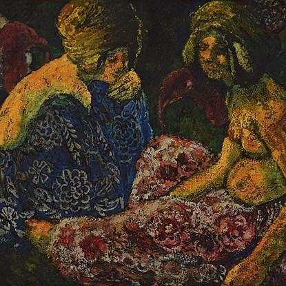 Scène Orientaliste, Deux Femmes Assises et Dindons - Georges Manzana Pissarro (1871 - 1961)