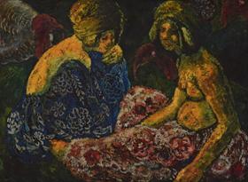 Georges Manzana Pissarro - Scène Orientaliste, Deux Femmes Assises et Dindons