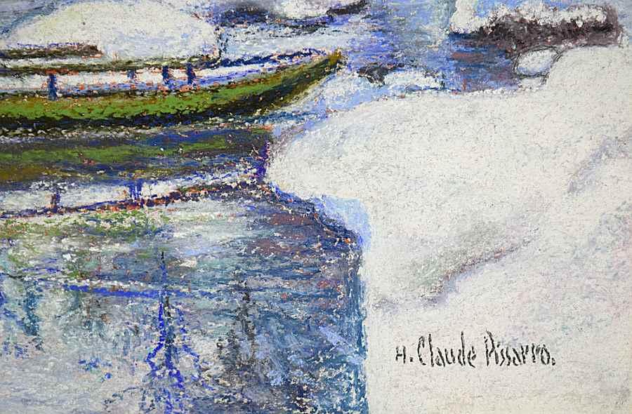 Neige aux Bords du Doubs: la Barque Jura Neuchâtelois en Hiver - H. Claude Pissarro (b. 1935 - )