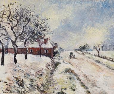 Camille Pissarro - Route Enneigée avec Maison, Environs d'Éragny