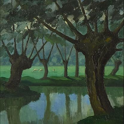 Les Trois Vaches au bord de La Lieure à Lyons-la-Forêt - Paulémile Pissarro (1884 - 1972)