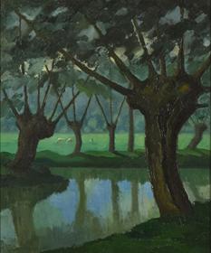 Paulémile Pissarro - Les Trois Vaches au bord de La Lieure à Lyons-la-Forêt