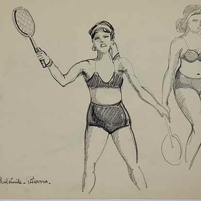 Yvonne Jouant au Tennis - Paulémile Pissarro (1884 - 1972)