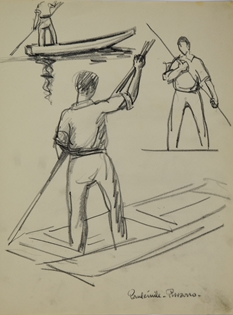 Paulémile Pissarro - Hommes Pagayant