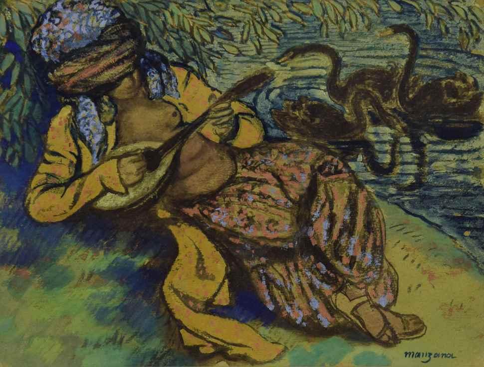 L'Orientale à la Mandoline - Georges Manzana Pissarro (1871 - 1961)