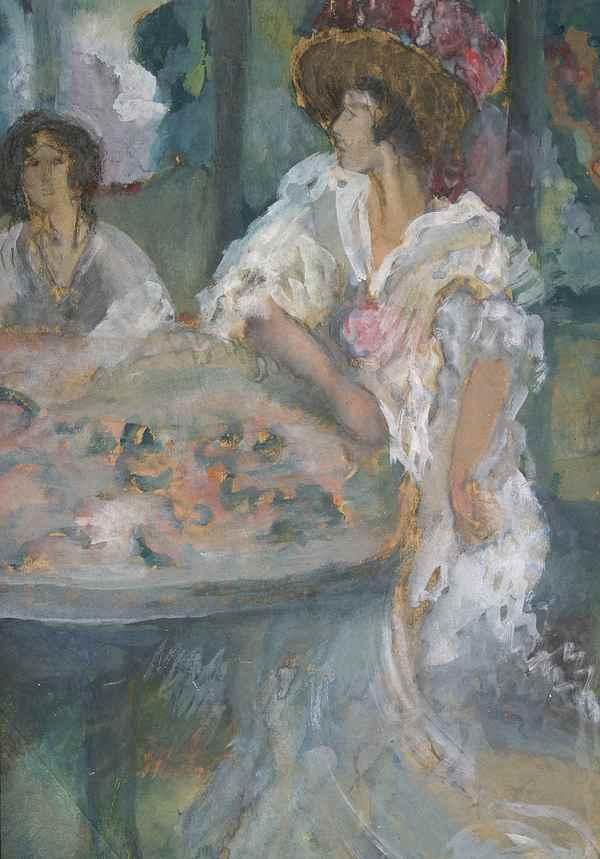 Café Scene with Young Girl - Roboa Pissarro (1878 - 1945)