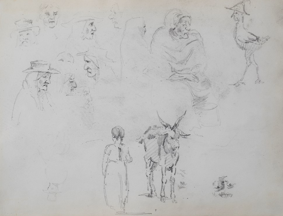 Figure Studies, a Goat and Child, Studies of Heads and a Seated Woman - Camille Pissarro (1830 - 1903)
