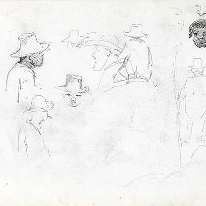 Study Of Men's Heads - Camille Pissarro (1830 - 1903)