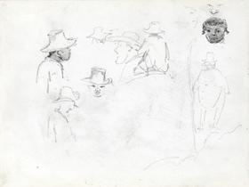Camille Pissarro - Study Of Men's Heads