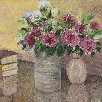 Le Bouquet de Toukie - Lélia Pissarro, Early Figurative (b. 1963 - )