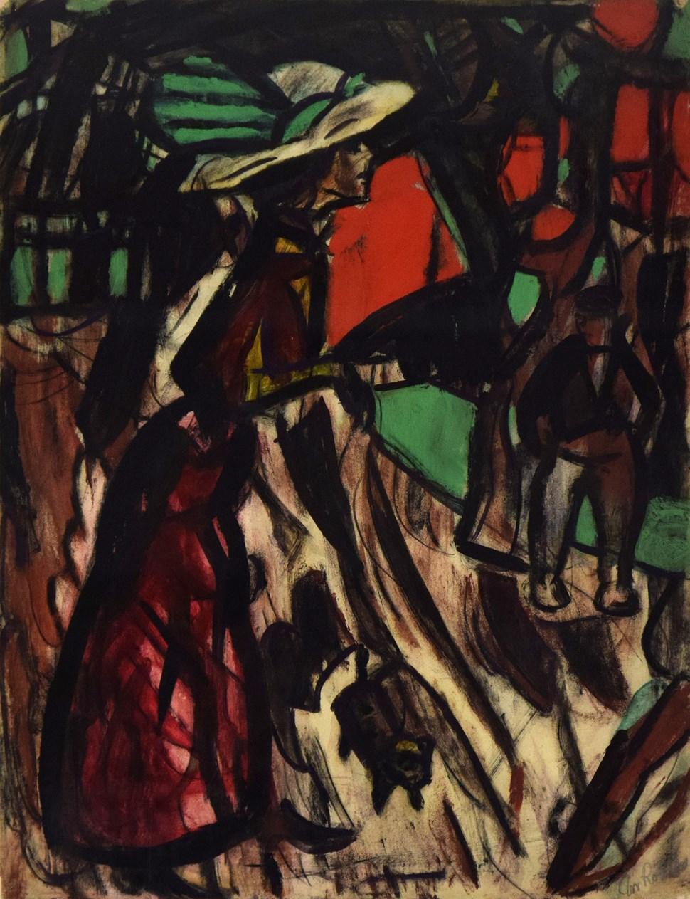 Strassenszene mit einer Frau, Begegnung - Christian Rohlfs (1849 - 1938)