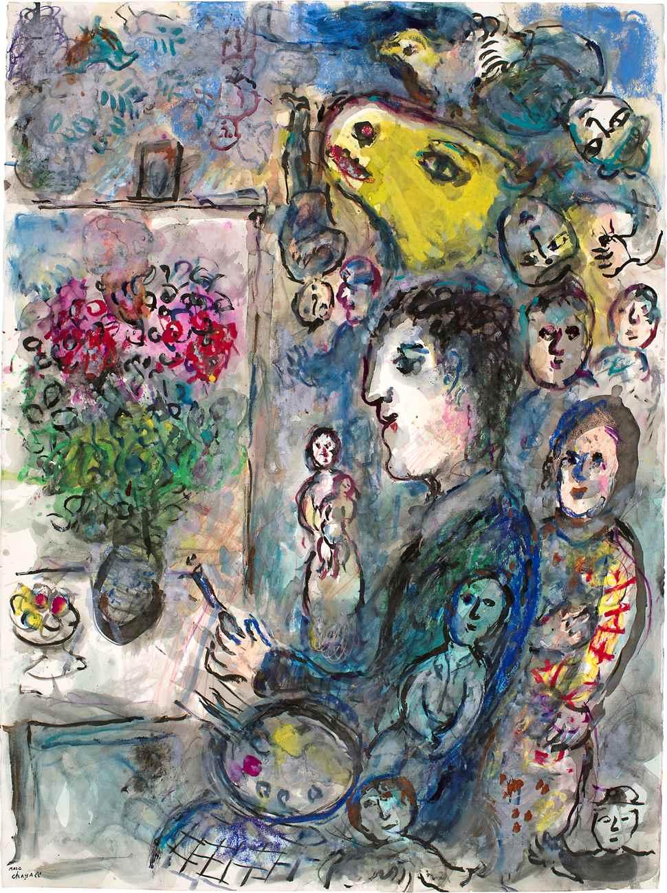 Peintre au Chevalet au Bouc Jaune - Marc Chagall (1887 - 1985)