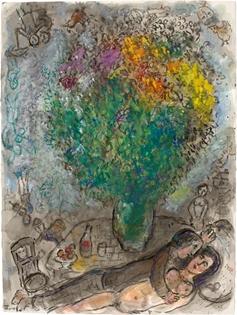 Marc Chagall - Couple Allongé au Grand Bouquet