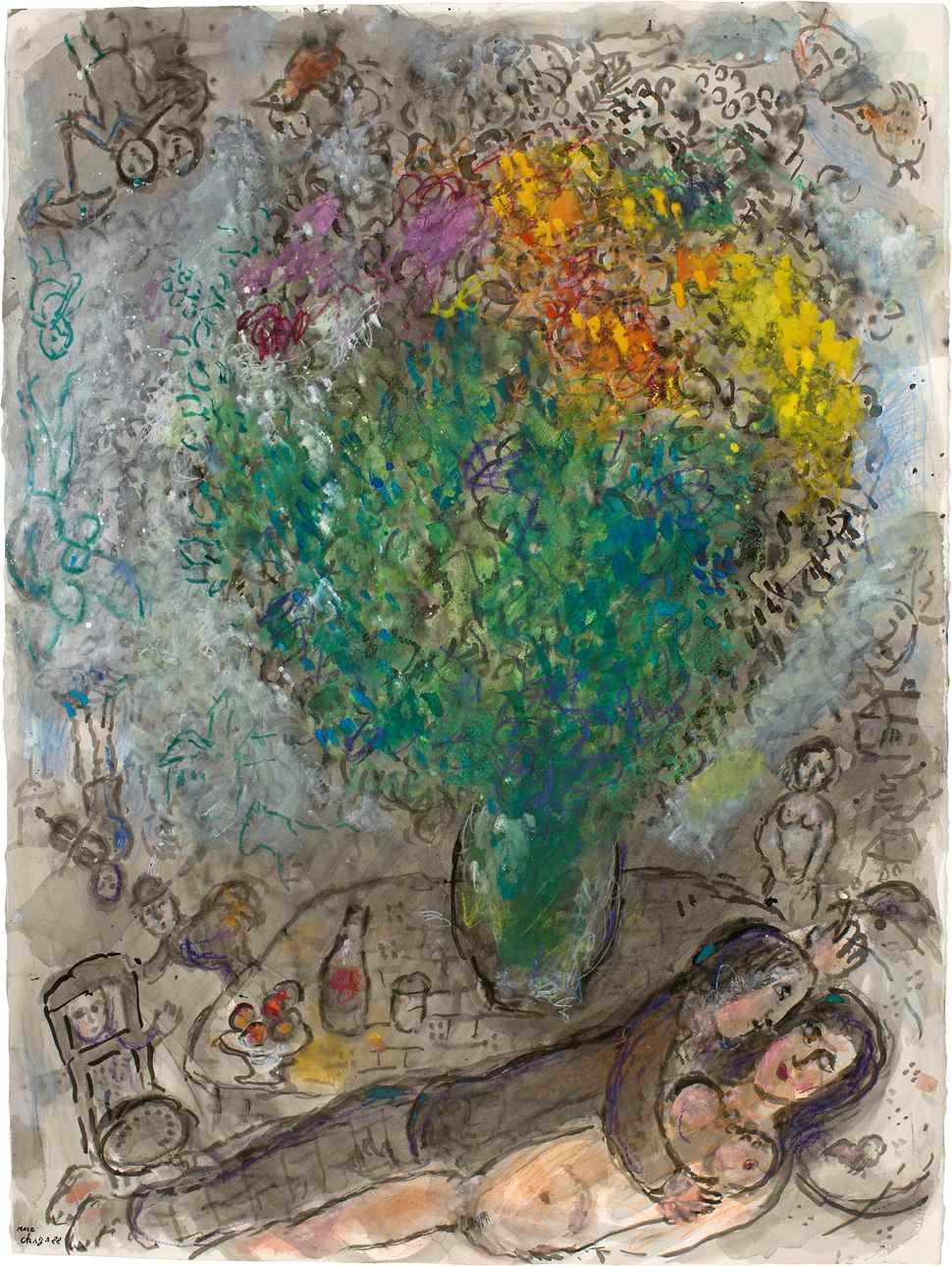 Couple Allongé au Grand Bouquet - Marc Chagall (1887 - 1985)