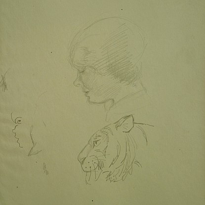 A Study of Human Head and Tiger - Orovida Pissarro (1893 - 1968)