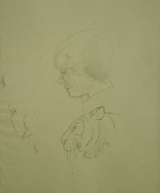 Orovida Pissarro - A Study of Human Head and Tiger