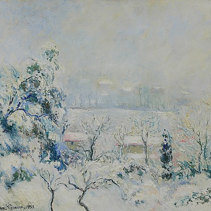 Vue de la Fenêtre de l'Artiste, Menton Carei sous la Neige - Georges Manzana Pissarro (1871 - 1961)
