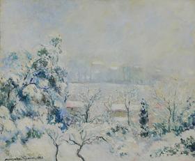 Georges Manzana Pissarro - Vue de la Fenêtre de l'Artiste, Menton Carei sous la Neige