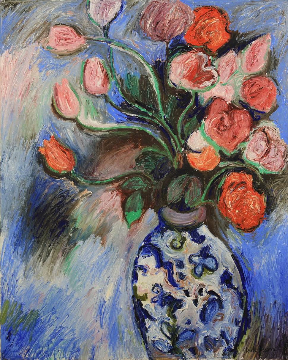 Les Tulipes de Jean Pierre - Hugues dit Pomié Pissarro (b. 1935)