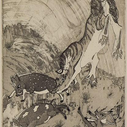 Peccarys and Tiger Pranks - Orovida Pissarro (1893 - 1968)