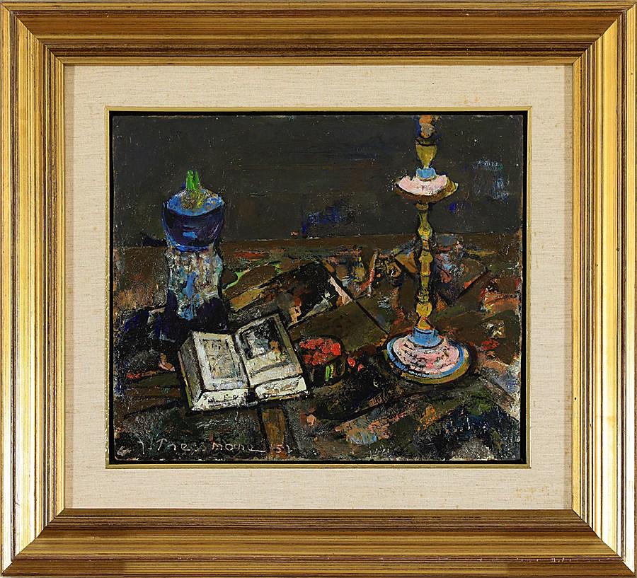Still Life with Candlestick and Book - Joseph Pressmane (1904 - 1967)