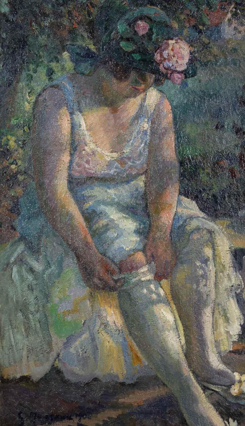 Femme Mettant son Bas - Georges Manzana Pissarro (1871 - 1961)