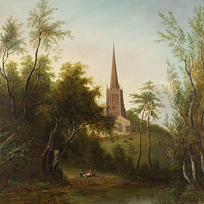 Figures by a Pond, with Cattle and a Church beyond - Sarah Ferneley (1812 - 1903)